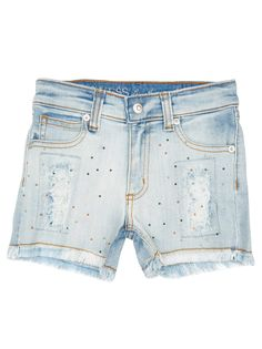 Light-wash shorts with studded detail is perfect for any little girl and is now available on Spree (R479) #guess #kidsfashion #girlsfashion