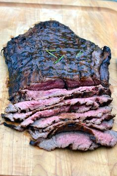 Balsamic Flank Steak Recipe. I did my marinade with ketchup instead of brown sugar, oregano instead of rosemary, plus Worcestershire and red wine and a little chopped red onion that was on hand.
