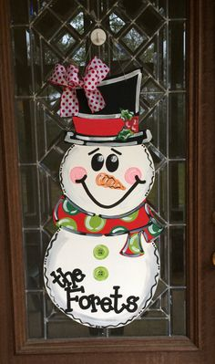Merry Christmas Snowman door hanger Christmas by aWhitofWhimsy