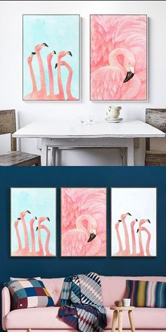 Lovely Flamingo Abstract Home Decor Posters #flamingos #flamingoart #wallart #poster #pinkflamingo