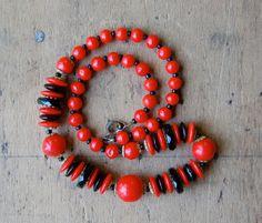 vintage glass bead necklace / 1930s jewelry / by jeanjeanvintage, $38.00