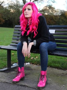 Dr. Martens Clemency Boot in pink patent leather