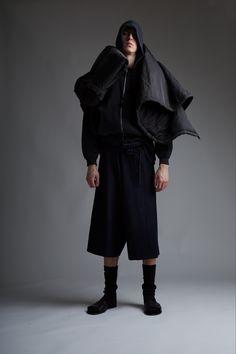 Vintage Men's Comme des Garçons Hooded Sweatshirt, Issey Miyake Coat, Military Scoop Neck T-Shirt and Comme des Garçons Shorts. Designer Clothing Dark Minimal Street Style Fashion