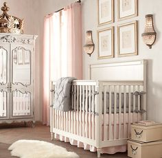 RH baby&child's Emelia Conversion Crib:The streamlined, neoclassic design of our Emelia collection finds its feminine grace with tapered legs, fluted sides and feet, and carved floral accents.