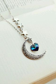 Moon pendant necklace with blue diamond heart and stars