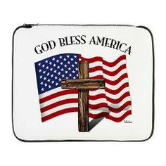 """God Bless American With US Flag and Rugged Cross 17"""" Laptop Sleeve    •   This design is available on t-shirts, hats, mugs, buttons, key chains and much more   •   Please check out our others designs at: www.cafepress.com/TsForJesus"""