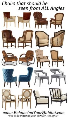 Chairs with unique & beautiful sides, angles, fabric & colors.  Beautiful from all angles.  Front, Side & Back!