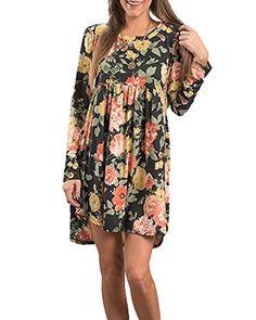 ZESICA Women's Floral Printed Long Sleeve Pleated Swing Loose Casual Babydoll Dress