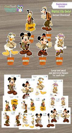 Mickey Mouse Safari Centerpiece, Mickey Safari Cake Toppers, Mickey  Mouse Safari Birthday, Mickey Safari Decor, Safari Party, Safari #catchmyparty #partyideas #mickeysafariparty #mickeysafaricupcakes