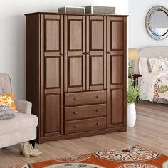 Armoires & Wardrobes You'll Love in 2019 Small Shelves, Beachcrest Home, Furniture, Tall Cabinet Storage, Home, Interior, Raised Panel Doors, Adjustable Shelving, Armoire