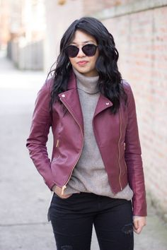 RD's Obsessions: Burgundy Moto Jacket,outfits. moto jacket. burgundy moto jacket, leather jacket, cozy knit sweater, black distressed jeans, over the knee boots, fall fashion, winter fashion
