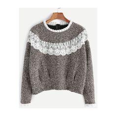 SheIn(sheinside) Khaki Contrast Lace Ruffle Trim Sweatshirt ($13) ❤ liked on Polyvore featuring tops, hoodies, sweatshirts, khaki, long sleeve tops, long sleeve pullover, polyester sweatshirt, khaki top and pullover sweatshirt