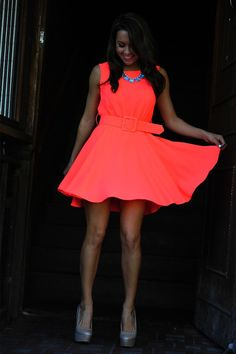 Neon pink! Need this dress! <3