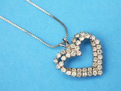 Vintage Crystal Rhinestone Double Heart by letslovevintage on Etsy, $28.00