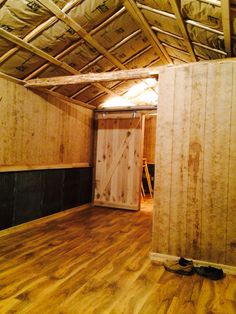 Our cabin is moving right along. The walls and trim are up, doors are hung. Lovin it!