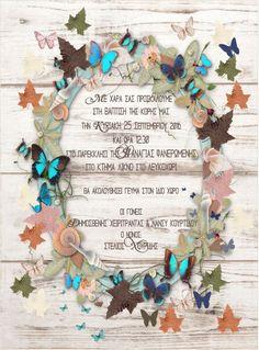 Προσκλητήριο βάπτισης στεφάνι από πεταλούδες και φύλλα - επιλογή 2 Christening, Baptism Ideas, Invitations, Frame, Weddings, Fiestas, Picture Frame, Wedding, Save The Date Invitations