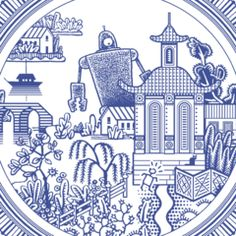 """Giant robot threatens tranquility of traditional plate. Imagine that bad boy lurking behind your meatloaf or brussels sprouts. 10.75"""" diameter white porcelain plate with blue image. Designed by Don Moyer and initially launched as a Kickstarter project."""