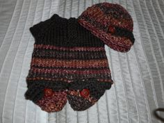 Hand Knit Baby Sweater Crochet Baby Hat and by bonitastewart