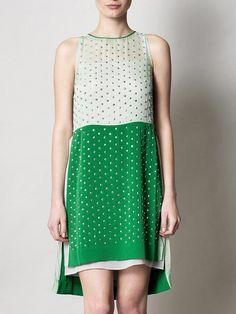 dvf. green crystal dress.