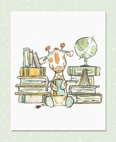 Love this etsy artist! Could go up by our children's-book shelves. Childrens Art Bookish Giraffe Art Print by trafalgarssquare Illustration Mignonne, Cute Illustration, Cute Drawings, Animal Drawings, Art Mignon, Giraffe Art, Cute Giraffe Drawing, Baby Art, Nursery Art