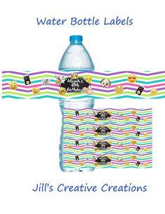 Emoji Birthday Water Bottle Labels