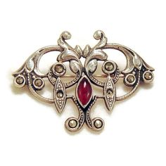 Antique Mid to Late Victorian Carnelian, Marcasite and Sterling Brooch or Pin with Original Trombone Clasp, Victorian or Edwardian Jewelry