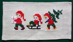 Amazing hand embroidered Christmas table runner / picture / wall hanging handmade cross stitch embroidered on linen In excellent vintage condition. Creates a cozy atmosphere. Measurements : 49 x 27 cm - x Cross Stitch Christmas Cards, Xmas Cross Stitch, Cross Stitch Cards, Christmas Cross, Counted Cross Stitch Patterns, Cross Stitching, Cross Stitch Embroidery, Tiny Cross Stitch, Cross Stitch Designs