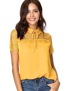 To find out about the Tie Neck Lace Yoke Top at SHEIN, part of our latest Blouses ready to shop online today! Blouse Neck, Short Sleeve Blouse, Affordable Clothes, Affordable Fashion, Peter Pan Collar Blouse, Yellow Top, Yellow Style, Color Yellow, Spring Shirts