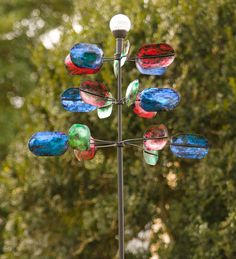 #Speckled #Spoon #Wind #Spinner With #Solar #Ball - changes colors at night!