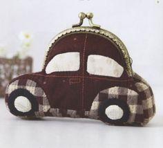 Mini Beetle Car coin purse Bag Handbag Wallet hand embroidery stitch sewing applique patchwork quilt PDF E Patterns Diy Bags Purses, Diy Purse, Patchwork Bags, Quilted Bag, Frame Purse, Coin Purse Wallet, Coin Purses, How To Make Handbags, Purse Patterns