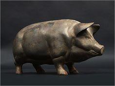Large scale 1920s cast iron piggy bank