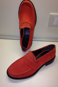 Beautiful authentic Celine red suede loafers, italian Size 37,    The item is preowned but has never been used, due to wrong number.     No box nor dustbag.   Shop this product here: spree.to/bxh5   Shop all of our products at http://spreesy.com/joeyviking      Pinterest selling powered by Spreesy.com