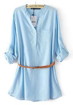 Blue Plain Single Breasted Pockets Blouse