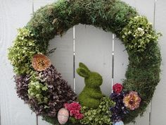 Easter Bunny, Moss Wreath for Spring