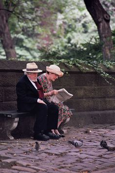 New York City 2003 - Sitting together on a park bench - comfortable in love