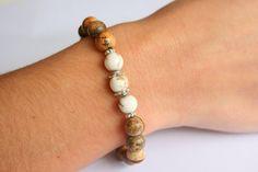 Protection Mala Bracelet for Women//  White Turquoise & Picture Jasper by LisbonGems, $23.00