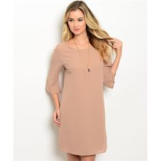Tan dress Adorable keyhole back. Sleeves go to elbows. 100% polyester. PLEASE DO NOT BUY THIS LISTING. Comment with your size when you're ready to purchase and I'll make you a new listing. trades. PayPal. Dresses