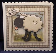 Birthday Bleatings. 8 x 8 decoupaged card. Available from: www.therhodaharveycollection.co.uk...