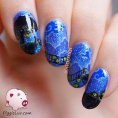 PiggieLuv: Glow in the dark bridge nail art (painted with polish)
