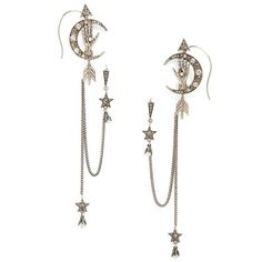 Women's Alexander Mcqueen Moon Ear Chains (£1,030) ❤ liked on Polyvore featuring jewelry, earrings, accessories, silver, star earrings, cuff earrings, star pendant, star jewelry and crystal stud earrings