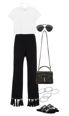 """""""Untitled #4244"""" by lily-tubman ❤ liked on Polyvore featuring Cinq à Sept, Monki, Yves Saint Laurent, Valentino, Apt. 9 and Humble Chic"""