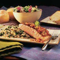 Santa Fe Salmon With Fresh Spinach Wild Rice