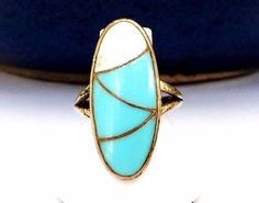 Old Norman LEE Navajo Sterling Silver Native American Turquoise Size 8 Ring #Handmade