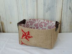 Upcycled AbBY baskets. Coffee burlap. Leather straps.