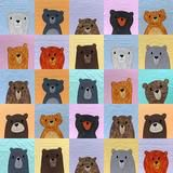 So many cute bears! Make a cuddly bear quilt in your favorite colors! The pattern includes templates for thirteen adorable bears. Applique Patterns, Quilt Patterns, Easy Quilts, Children's Quilts, Bear Crafts, Quilt As You Go, Machine Applique, Cute Bears, Digital Pattern