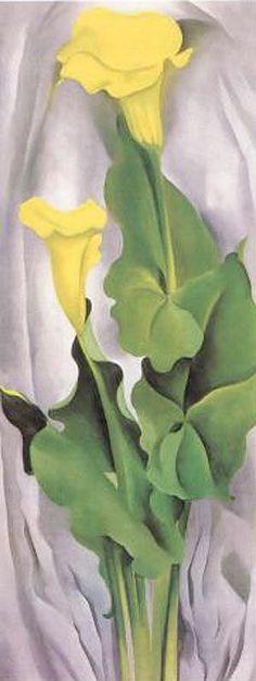 georgia o'keeffe | GEORGIA O'KEEFFE Yellow Calla--Green Leaves (1927)