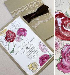Multi-Colored Watercolor Ranunculus Hand Painted Wedding Invitation | Momental Designs – Unique Handmade Wedding Invitations, Custom Invitations by Artist, Kristy Rice