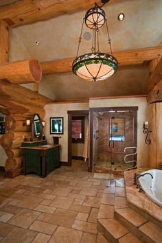 Log Home Bathrooms | ... Log Cabin Wild On Tech, Master Bath