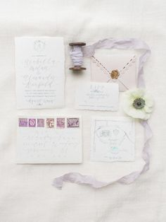 Gorgeous lavender invitations: http://www.stylemepretty.com/2015/05/17/elegant-ethereal-wedding-inspiration/ | Photography: Vasia - http://www.vasia-weddings.com/