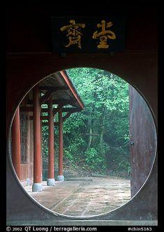 Circular doorway in Bailongdong temple. Emei Shan, Sichuan, China